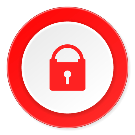 trusty: padlock red circle 3d modern design flat icon on white background