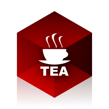red cube: tea red cube 3d modern design icon on white background