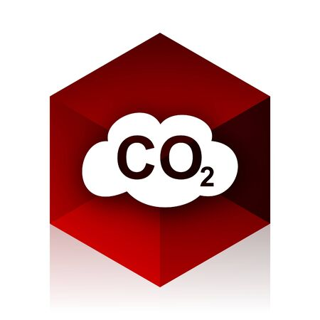 carbon dioxide: carbon dioxide red cube 3d modern design icon on white background