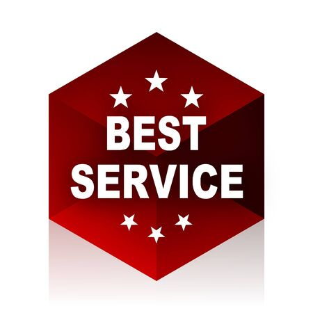 best service: best service red cube 3d modern design icon on white background Stock Photo