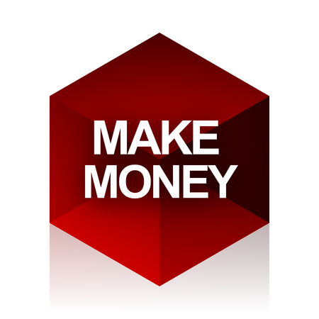 make money: make money red cube 3d modern design icon on white background Stock Photo