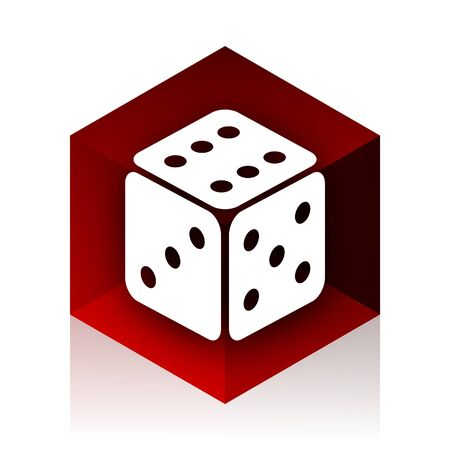 picto: game red cube 3d modern design icon on white background
