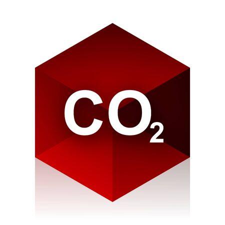 dioxido de carbono: el dióxido de carbono cubo rojo 3d icono del diseño moderno en el fondo blanco Foto de archivo