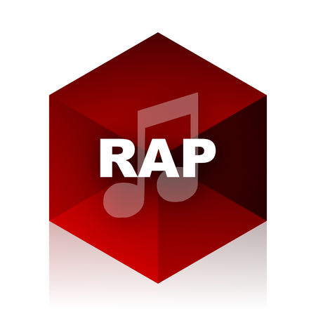 rap music: rap music red cube 3d modern design icon on white background