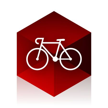 red cube: bicycle red cube 3d modern design icon on white background