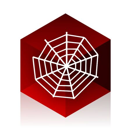 spider web: spider web red cube 3d modern design icon on white background Stock Photo