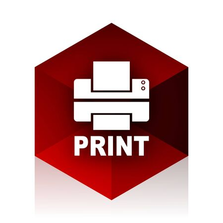 red cube: printer red cube 3d modern design icon on white background