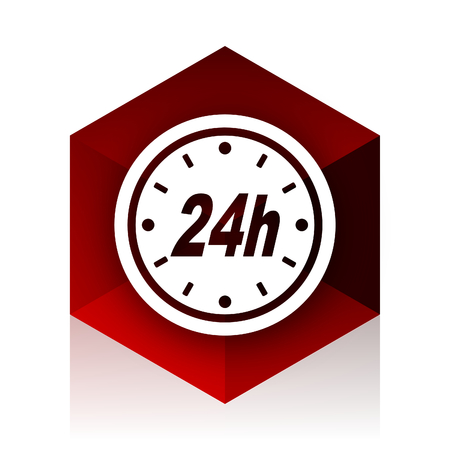 24h: 24h red cube 3d modern design icon on white background
