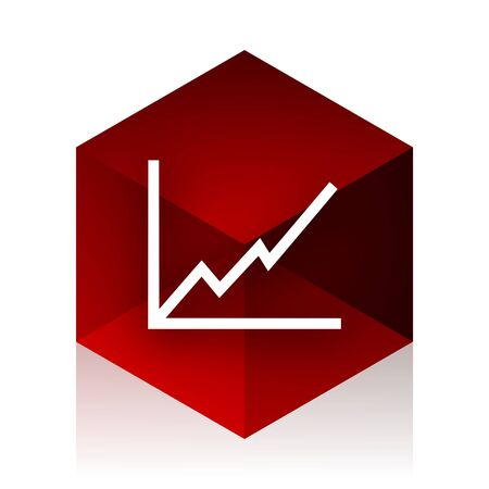 red cube: chart red cube 3d modern design icon on white background