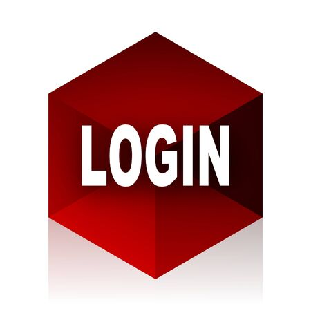 red cube: login red cube 3d modern design icon on white background Stock Photo