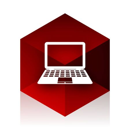 red cube: computer red cube 3d modern design icon on white background