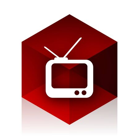red cube: tv red cube 3d modern design icon on white background