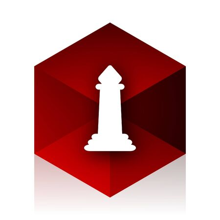 king master: chess red cube 3d modern design icon on white background