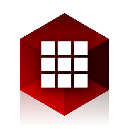 thumbnails: thumbnails grid red cube 3d modern design icon on white background Stock Photo
