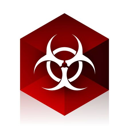 biological: biohazard red cube 3d modern design icon on white background