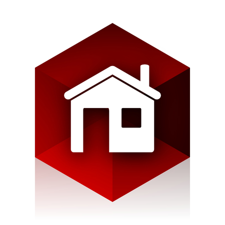 red cube: house red cube 3d modern design icon on white background