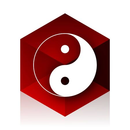 ying and yang: ying yang red cube 3d modern design icon on white background
