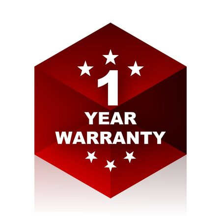 1 year warranty: warranty guarantee 1 year red cube 3d modern design icon on white background