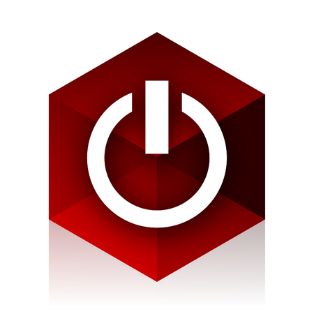 running off: power red cube 3d modern design icon on white background Stock Photo