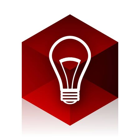 lighting button: bulb red cube 3d modern design icon on white background