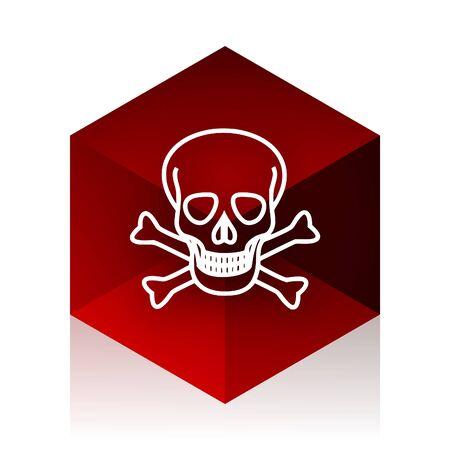 pirating: skull red cube 3d modern design icon on white background