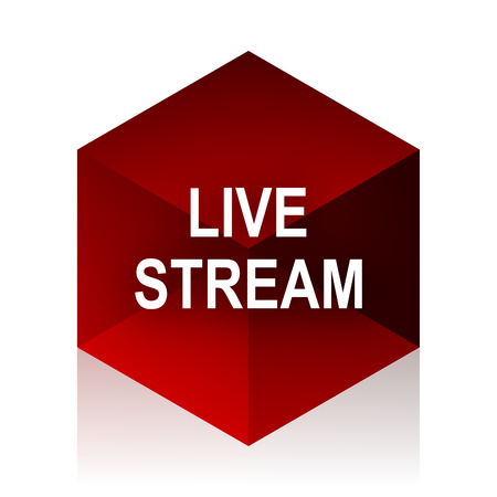 news cast: live stream red cube 3d modern design icon on white background