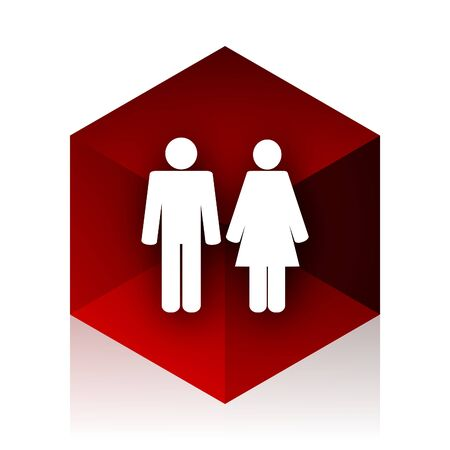 red cube: couple red cube 3d modern design icon on white background