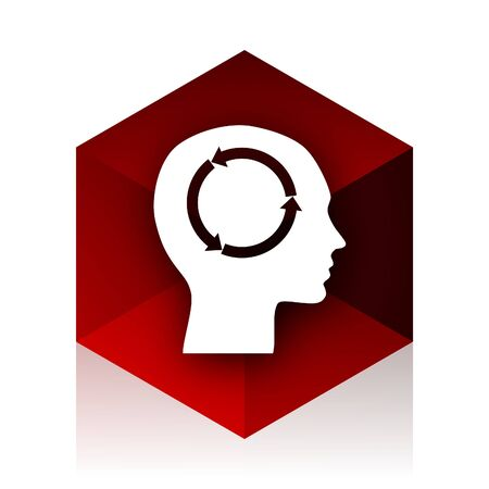 keen: head red cube 3d modern design icon on white background