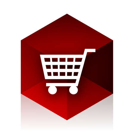 red cube: cart red cube 3d modern design icon on white background Stock Photo