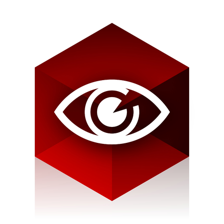 eye red: eye red cube 3d modern design icon on white background