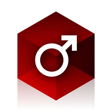 sexuality: male red cube 3d modern design icon on white background Stock Photo