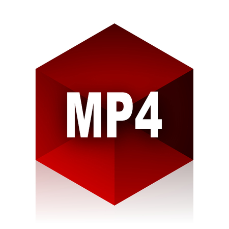 mp4: mp4 red cube 3d modern design icon on white background Stock Photo