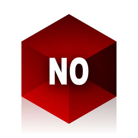 negate: no red cube 3d modern design icon on white background