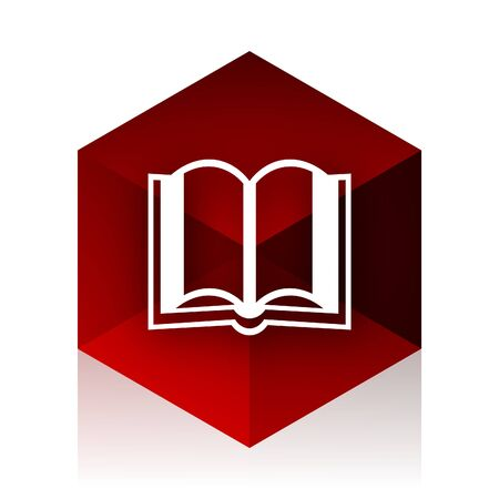 guestbook: book red cube 3d modern design icon on white background Stock Photo