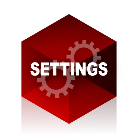 interface menu tool: settings red cube 3d modern design icon on white background