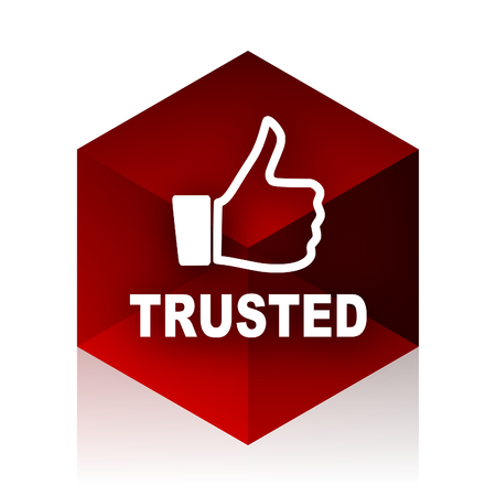 trusted: trusted red cube 3d modern design icon on white background
