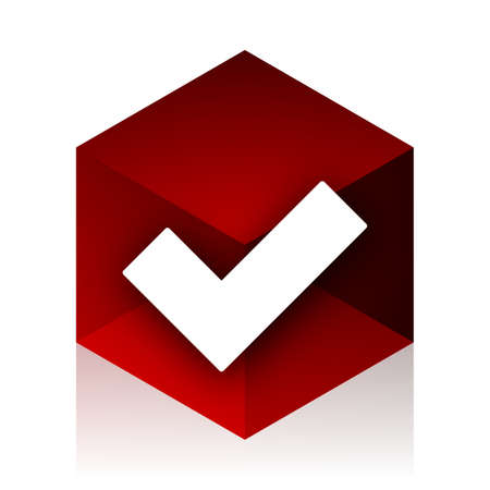 yea: accept red cube 3d modern design icon on white background