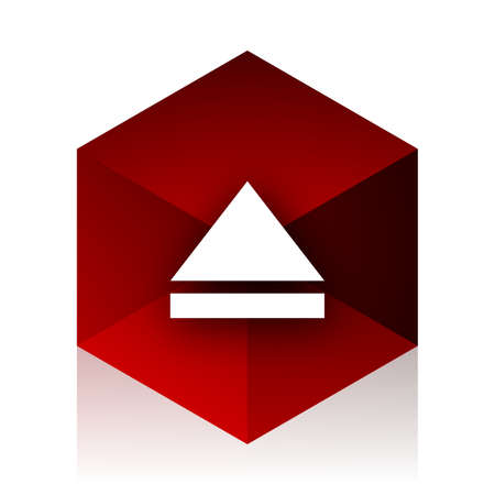 eject: eject red cube 3d modern design icon on white background