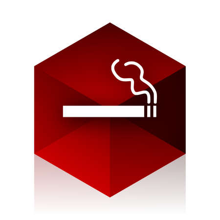red cube: cigarette red cube 3d modern design icon on white background