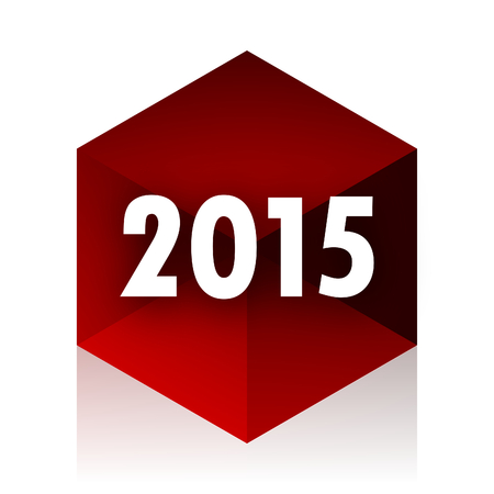 new beginnings: new year 2015 red cube 3d modern design icon on white background