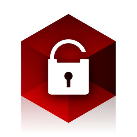red cube: padlock red cube 3d modern design icon on white background Stock Photo