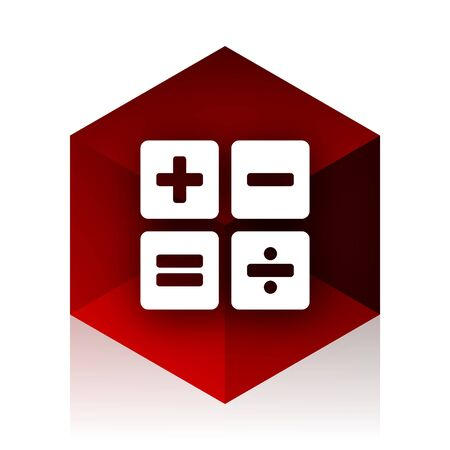 compute: calculator red cube 3d modern design icon on white background Stock Photo