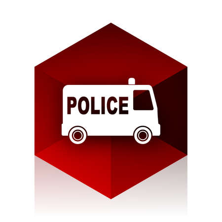 highway patrol: police red cube 3d modern design icon on white background