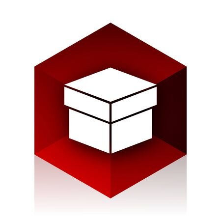 red cube: box red cube 3d modern design icon on white background Stock Photo