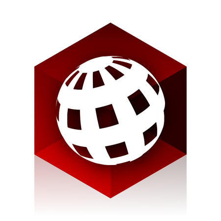 red cube: earth red cube 3d modern design icon on white background