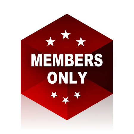 members only: members only red cube 3d modern design icon on white background