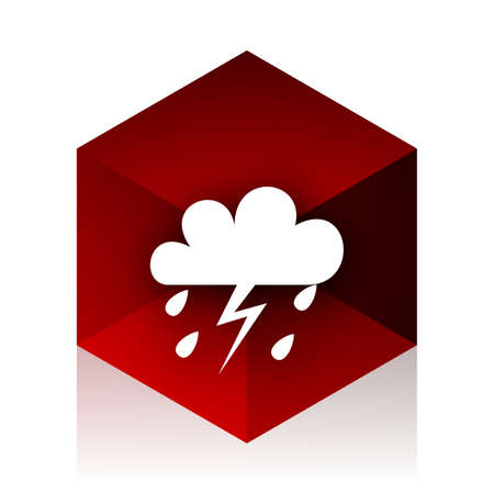 storm red cube 3d modern design icon on white background