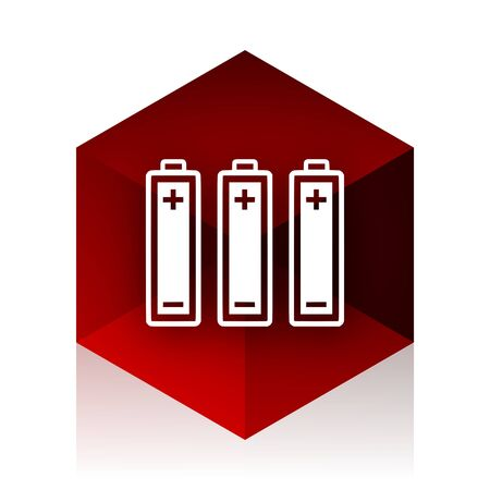 accuse: battery red cube 3d modern design icon on white background