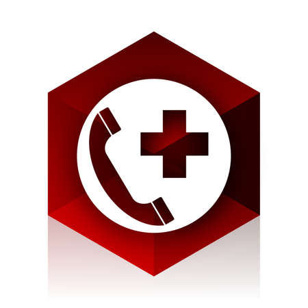 emergency call: emergency call red cube 3d modern design icon on white background