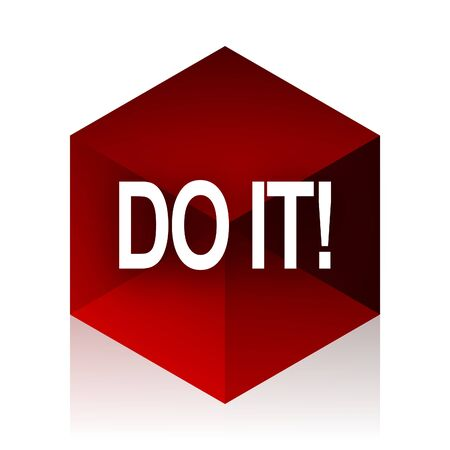 just do it: do it red cube 3d modern design icon on white background Stock Photo